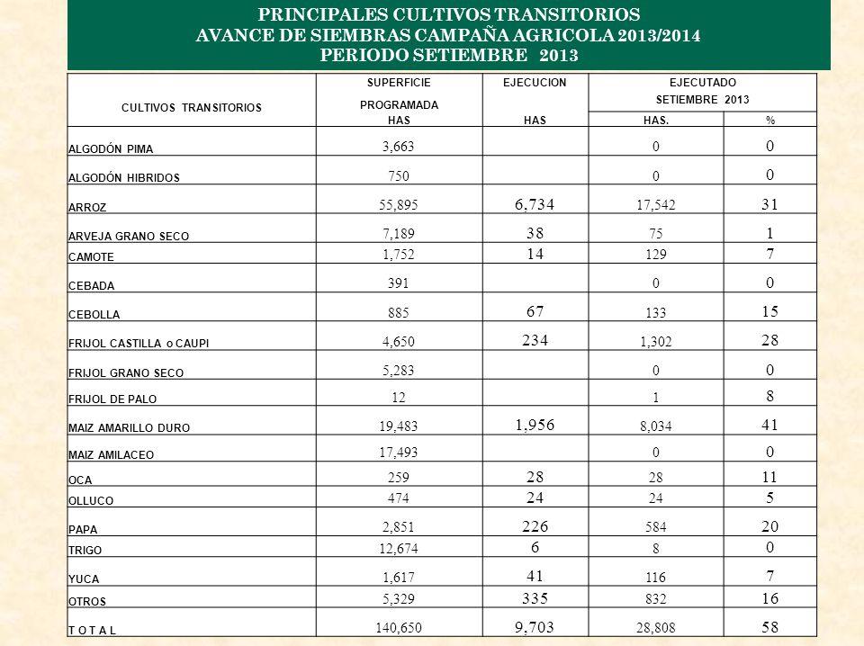 PRINCIPALES CULTIVOS TRANSITORIOS AVANCE DE SIEMBRAS CAMPAÑA AGRICOLA 2013/2014 PERIODO SETIEMBRE 2013 CULTIVOS TRANSITORIOS SUPERFICIEEJECUCIONEJECUTADO PROGRAMADA SETIEMBRE 2013 HAS HAS.% ALGODÓN PIMA 3,6630 0 ALGODÓN HIBRIDOS 7500 0 ARROZ 55,895 6,734 17,542 31 ARVEJA GRANO SECO 7,189 38 75 1 CAMOTE 1,752 14 129 7 CEBADA 3910 0 CEBOLLA 885 67 133 15 FRIJOL CASTILLA o CAUPI 4,650 234 1,302 28 FRIJOL GRANO SECO 5,2830 0 FRIJOL DE PALO 121 8 MAIZ AMARILLO DURO 19,483 1,956 8,034 41 MAIZ AMILACEO 17,4930 0 OCA 259 28 11 OLLUCO 474 24 5 PAPA 2,851 226 584 20 TRIGO 12,674 6 8 0 YUCA 1,617 41 116 7 OTROS 5,329 335 832 16 T O T A L 140,650 9,703 28,808 58