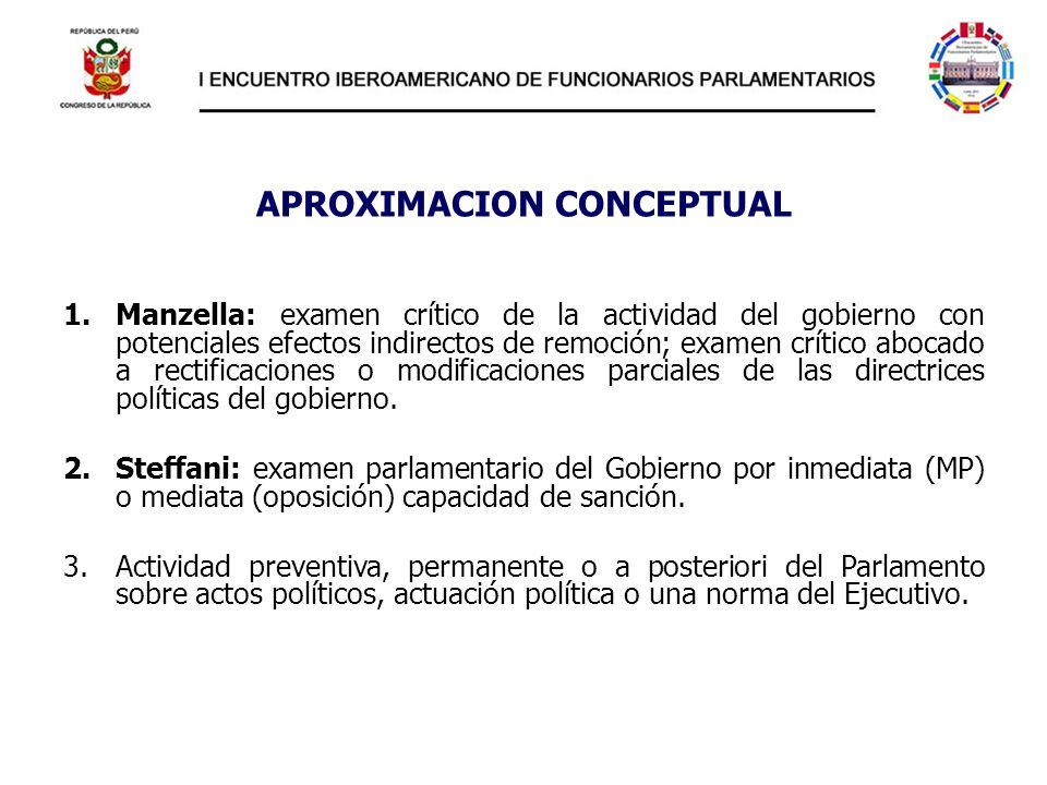 APROXIMACION CONCEPTUAL 1.Manzella: examen crítico de la actividad del gobierno con potenciales efectos indirectos de remoción; examen crítico abocado