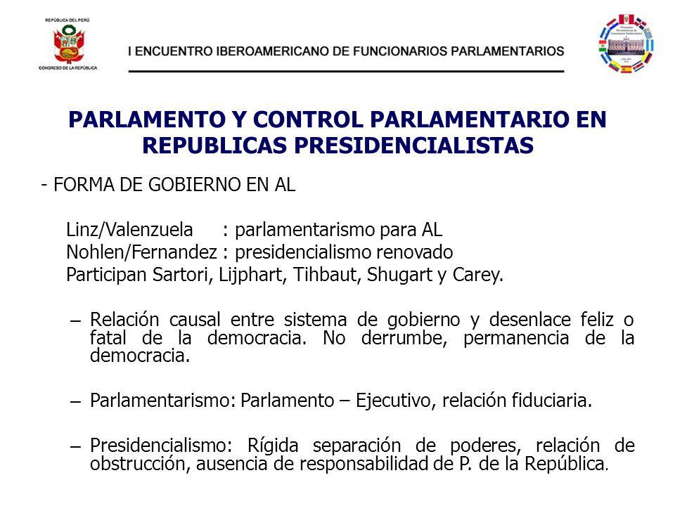 PARLAMENTO Y CONTROL PARLAMENTARIO EN REPUBLICAS PRESIDENCIALISTAS - FORMA DE GOBIERNO EN AL Linz/Valenzuela : parlamentarismo para AL Nohlen/Fernande