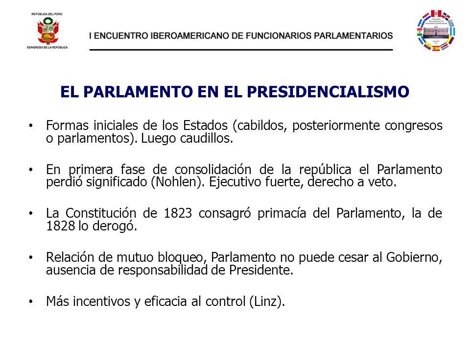 EL PARLAMENTO EN EL PRESIDENCIALISMO Formas iniciales de los Estados (cabildos, posteriormente congresos o parlamentos). Luego caudillos. En primera f
