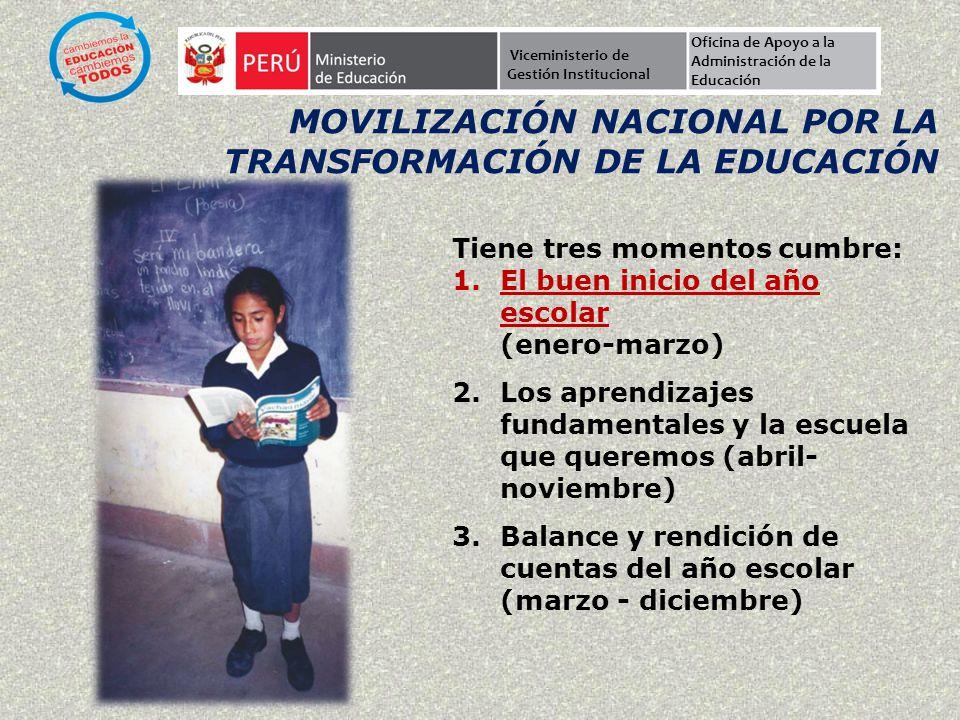 Viceministerio de Gestión Institucional Oficina de Apoyo a la Administración de la Educación MOVILIZACIÓN NACIONAL POR LA TRANSFORMACIÓN DE LA EDUCACI