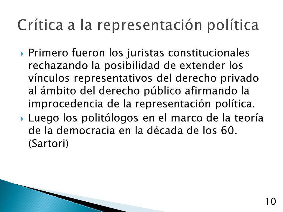 10 Crítica a la representación política Primero fueron los juristas constitucionales rechazando la posibilidad de extender los vínculos representativo