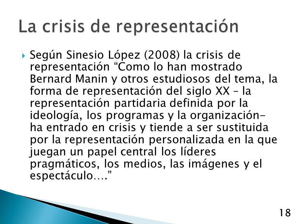 18 Según Sinesio López (2008) la crisis de representación Como lo han mostrado Bernard Manin y otros estudiosos del tema, la forma de representación d