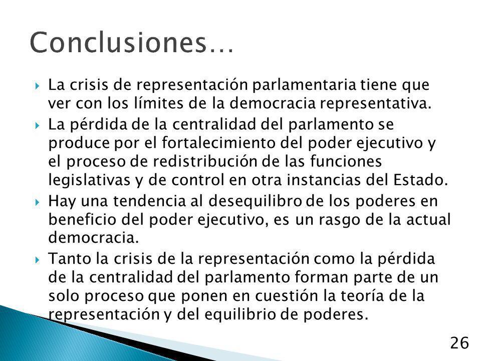 26 Conclusiones… La crisis de representación parlamentaria tiene que ver con los límites de la democracia representativa. La pérdida de la centralidad