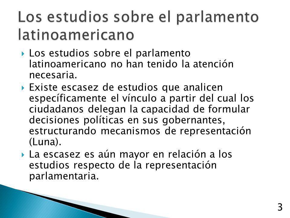 3 Los estudios sobre el parlamento latinoamericano no han tenido la atención necesaria. Existe escasez de estudios que analicen específicamente el vín