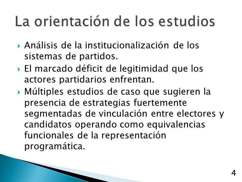 4 Análisis de la institucionalización de los sistemas de partidos. El marcado déficit de legitimidad que los actores partidarios enfrentan. Múltiples