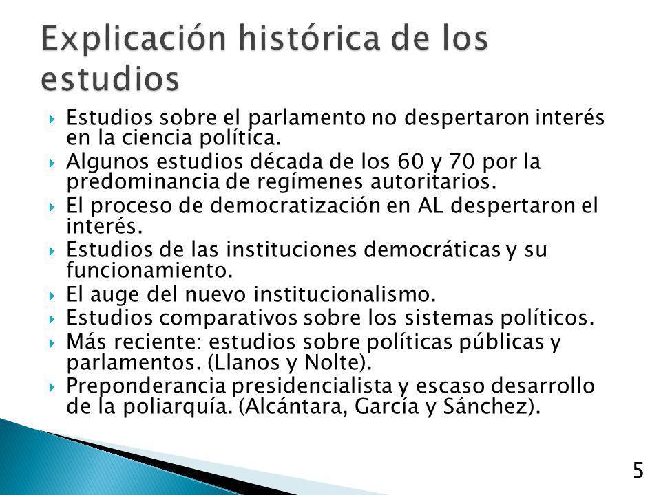 5 Estudios sobre el parlamento no despertaron interés en la ciencia política. Algunos estudios década de los 60 y 70 por la predominancia de regímenes