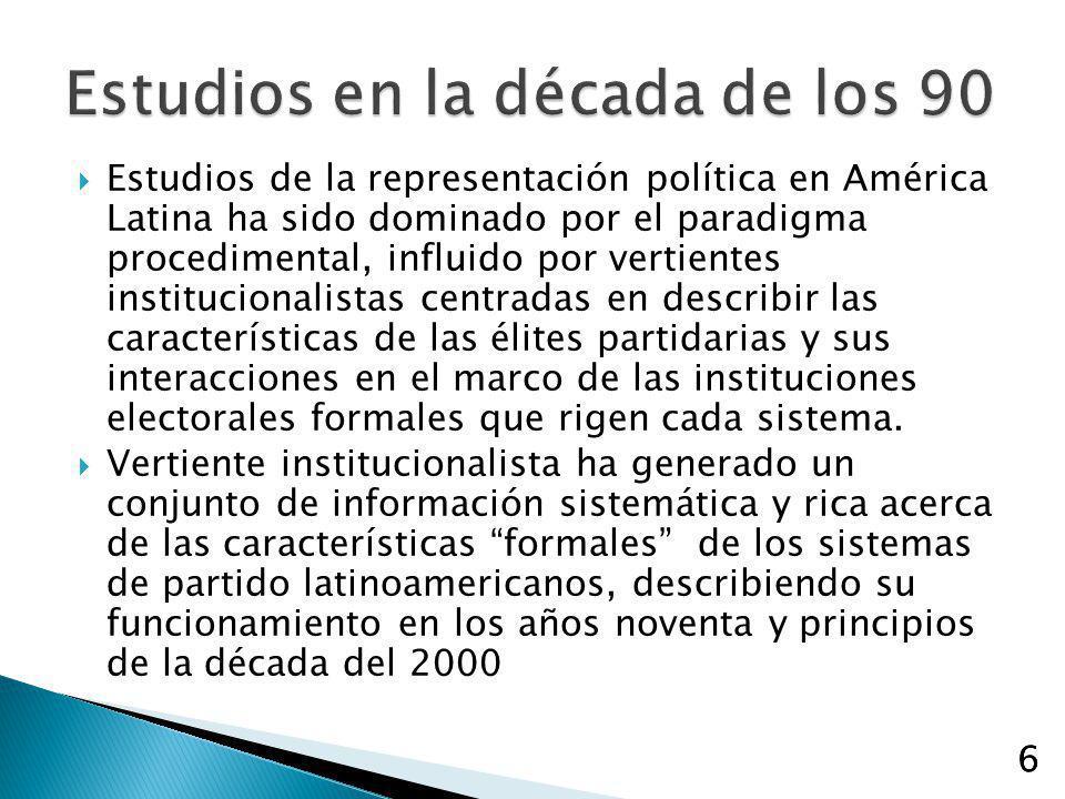 6 Estudios de la representación política en América Latina ha sido dominado por el paradigma procedimental, influido por vertientes institucionalistas