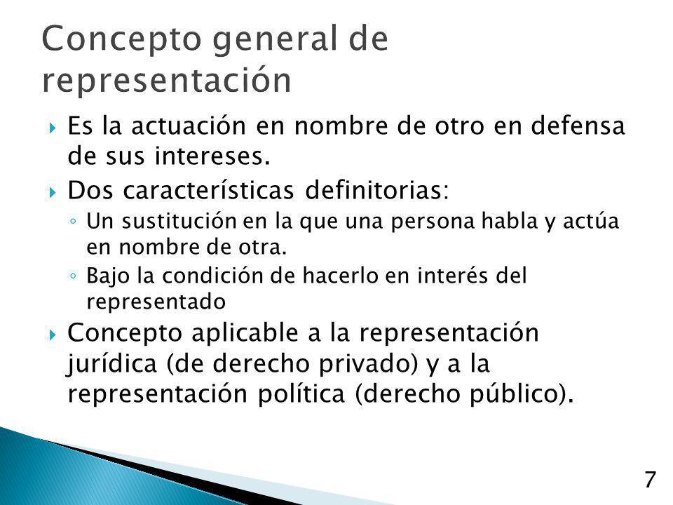 7 Concepto general de representación Es la actuación en nombre de otro en defensa de sus intereses. Dos características definitorias: Un sustitución e