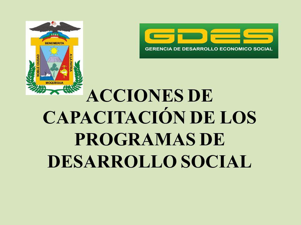 ACCIONES DE CAPACITACIÓN DE LOS PROGRAMAS DE DESARROLLO SOCIAL