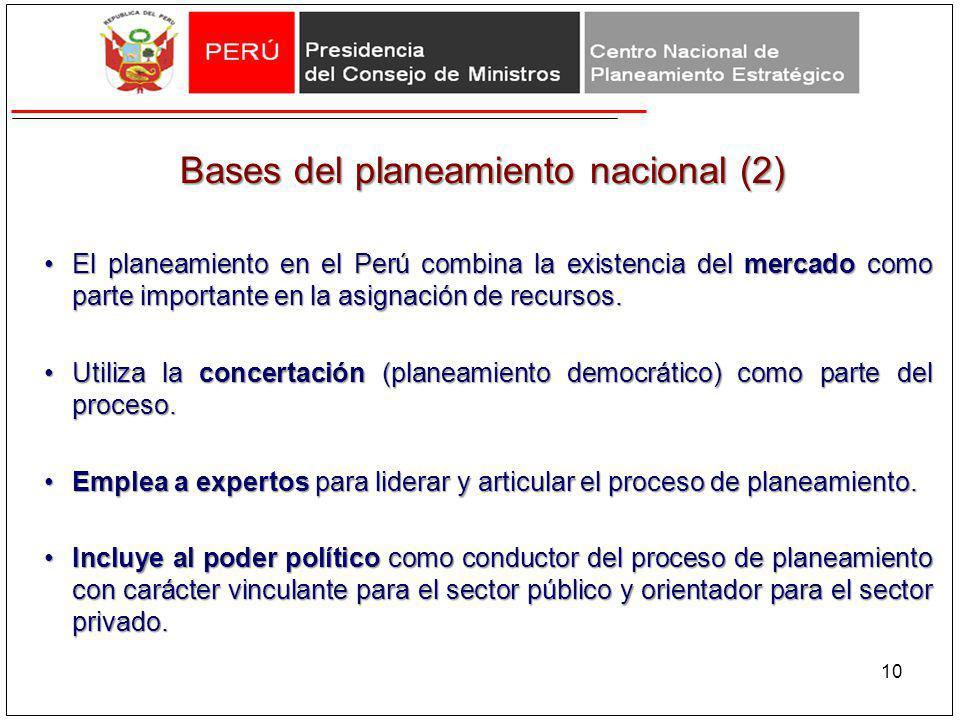 Bases del planeamiento nacional (2) Bases del planeamiento nacional (2) El planeamiento en el Perú combina la existencia del mercado como parte import