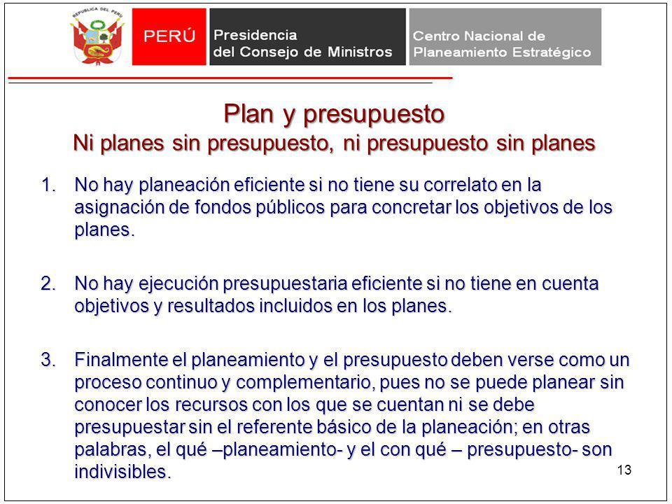 Plan y presupuesto Ni planes sin presupuesto, ni presupuesto sin planes 1.No hay planeación eficiente si no tiene su correlato en la asignación de fon