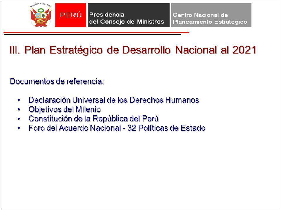 III. Plan Estratégico de Desarrollo Nacional al 2021 III. Plan Estratégico de Desarrollo Nacional al 2021 Documentos de referencia: Declaración Univer