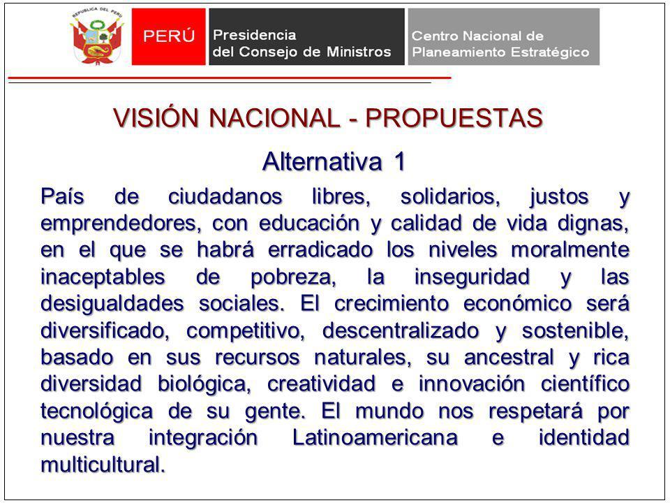 VISIÓN NACIONAL - PROPUESTAS Alternativa 1 País de ciudadanos libres, solidarios, justos y emprendedores, con educación y calidad de vida dignas, en e