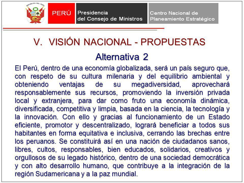 V.VISIÓN NACIONAL - PROPUESTAS Alternativa 2 El Perú, dentro de una economía globalizada, será un país seguro que, con respeto de su cultura milenaria