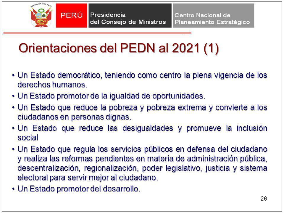 Orientaciones del PEDN al 2021 (1) Un Estado democrático, teniendo como centro la plena vigencia de los derechos humanos.Un Estado democrático, tenien
