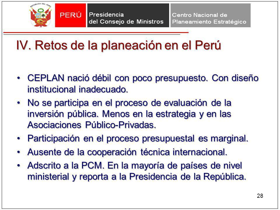 IV. Retos de la planeación en el Perú CEPLAN nació débil con poco presupuesto. Con diseño institucional inadecuado.CEPLAN nació débil con poco presupu