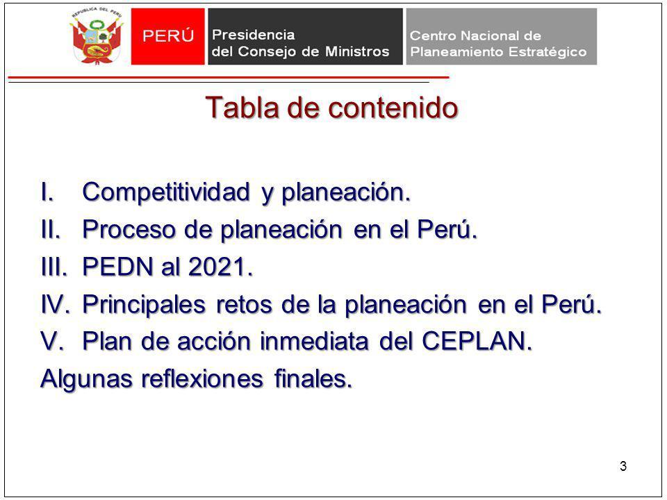 Tabla de contenido I.Competitividad y planeación. II.Proceso de planeación en el Perú. III.PEDN al 2021. IV.Principales retos de la planeación en el P