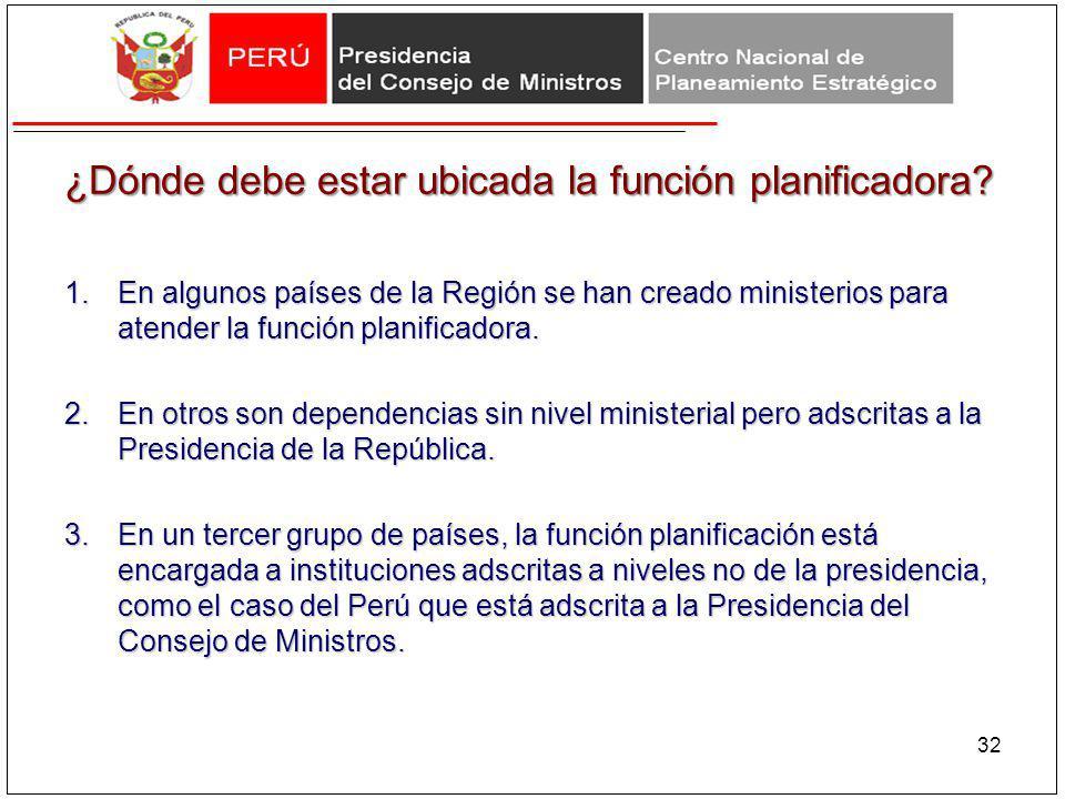 ¿Dónde debe estar ubicada la función planificadora? 1.En algunos países de la Región se han creado ministerios para atender la función planificadora.