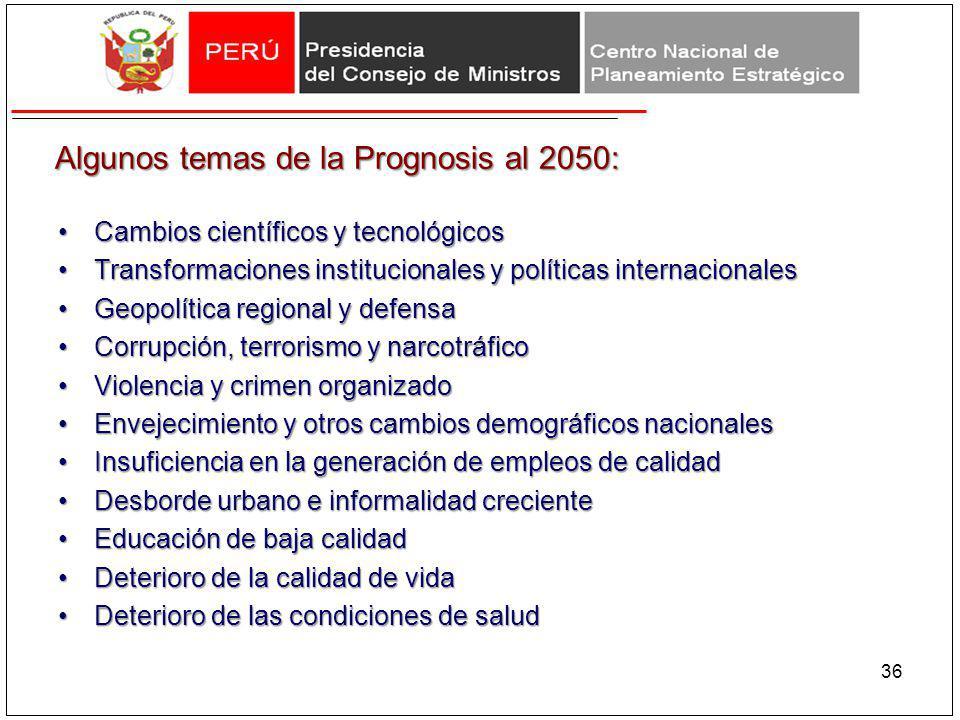 Algunos temas de la Prognosis al 2050: Cambios científicos y tecnológicosCambios científicos y tecnológicos Transformaciones institucionales y polític