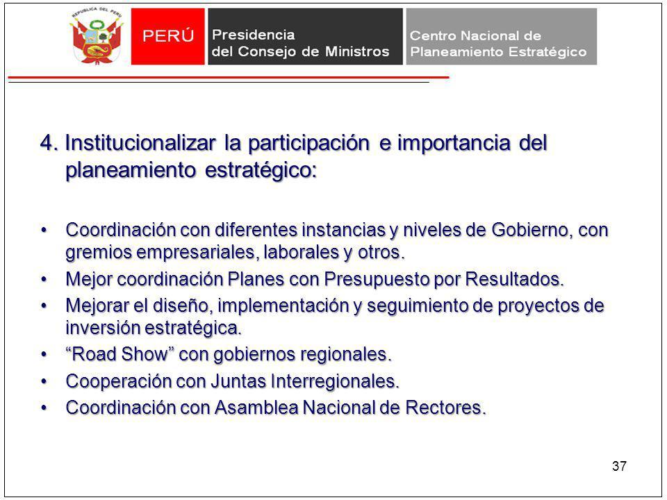4. Institucionalizar la participación e importancia del planeamiento estratégico: Coordinación con diferentes instancias y niveles de Gobierno, con gr