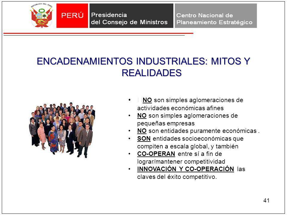 ENCADENAMIENTOS INDUSTRIALES: MITOS Y REALIDADES 41 NO son simples aglomeraciones de actividades económicas afines NO son simples aglomeraciones de pe