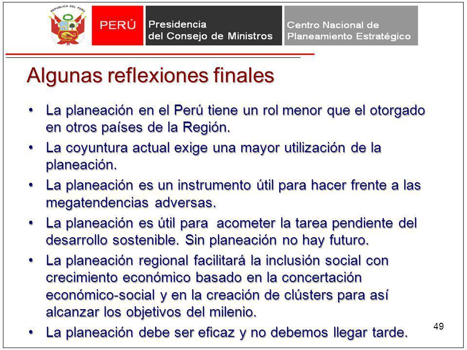 Algunas reflexiones finales La planeación en el Perú tiene un rol menor que el otorgado en otros países de la Región.La planeación en el Perú tiene un