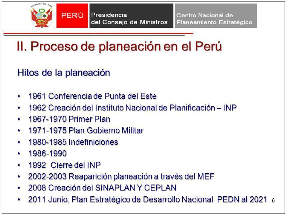 II. Proceso de planeación en el Perú Hitos de la planeación 1961 Conferencia de Punta del Este1961 Conferencia de Punta del Este 1962 Creación del Ins