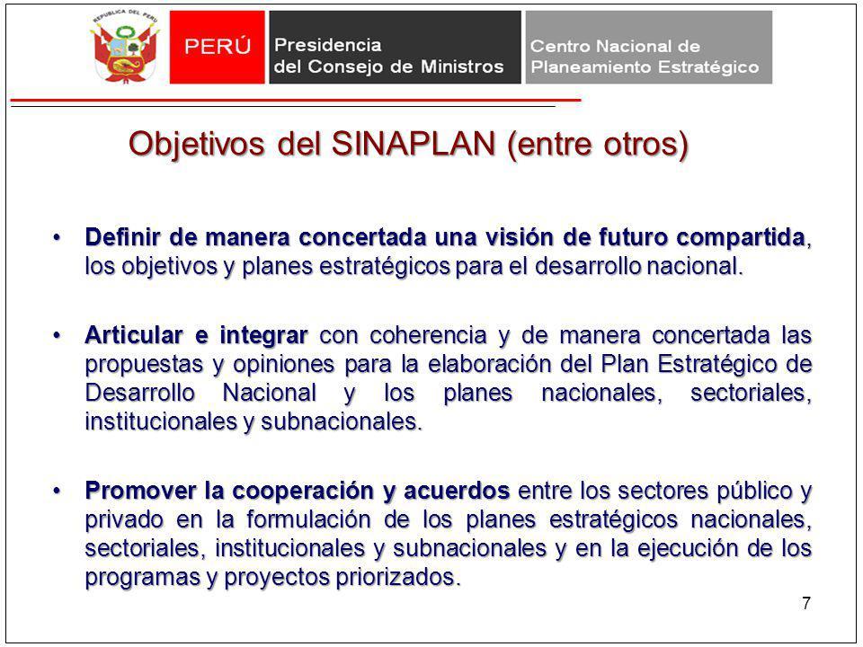 Objetivos del SINAPLAN (entre otros) Definir de manera concertada una visión de futuro compartida, los objetivos y planes estratégicos para el desarro