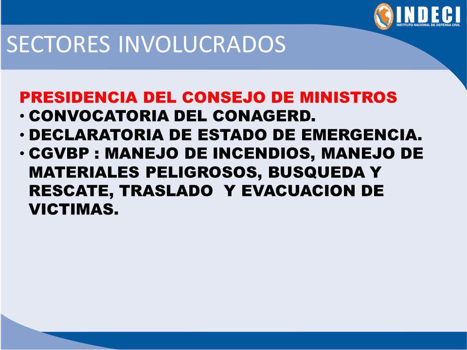 PRESIDENTE DE LA REPÚBLICA 1.Recibir información inicial del Presidente PCM y/o Jefe del INDECI sobre la magnitud del desastre y las acciones iníciales.