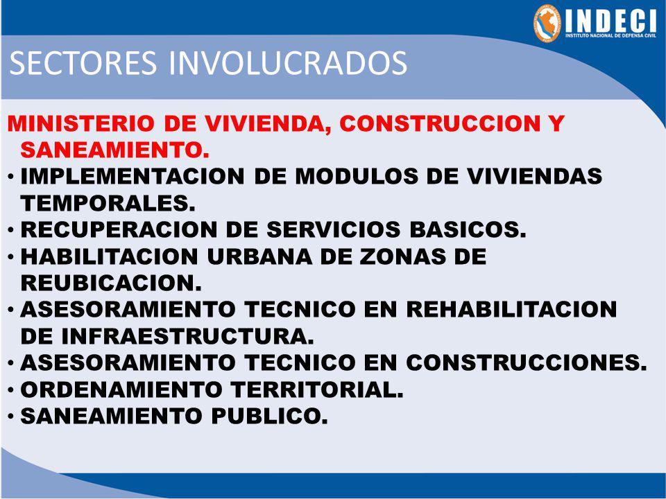MINISTROS DE ESTADO a.Proporcionar información sectorial al Presidente PCM sobre la magnitud del desastre y las acciones efectuadas.
