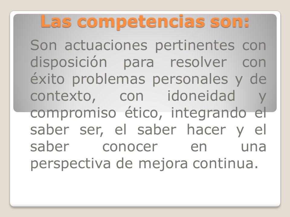 Las competencias son: Son actuaciones pertinentes con disposición para resolver con éxito problemas personales y de contexto, con idoneidad y compromi
