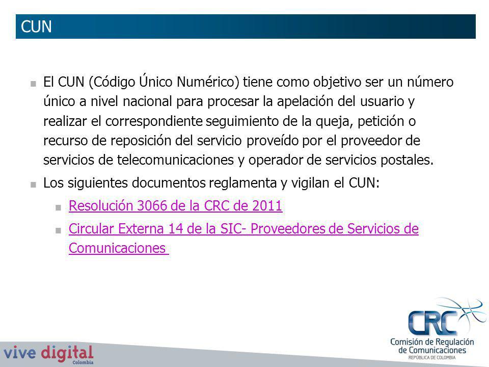 El CUN (Código Único Numérico) tiene como objetivo ser un número único a nivel nacional para procesar la apelación del usuario y realizar el correspon