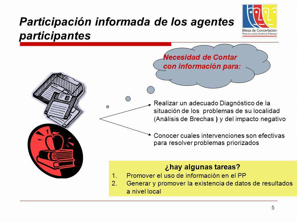 5 Participación informada de los agentes participantes Realizar un adecuado Diagnóstico de la situación de los problemas de su localidad (Análisis de