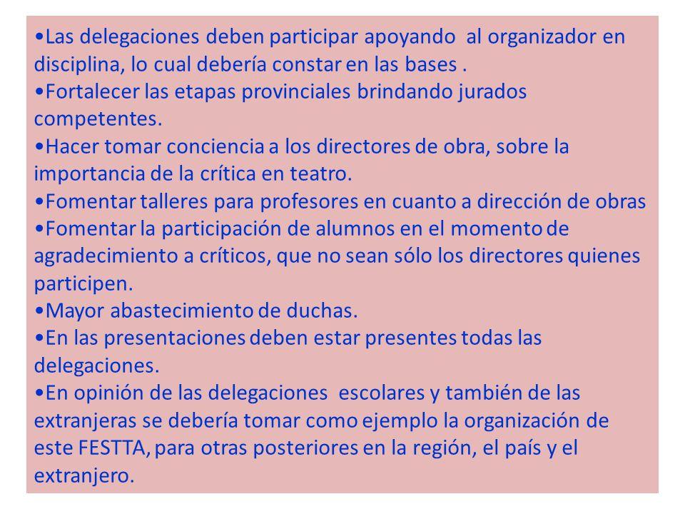 Las delegaciones deben participar apoyando al organizador en disciplina, lo cual debería constar en las bases.