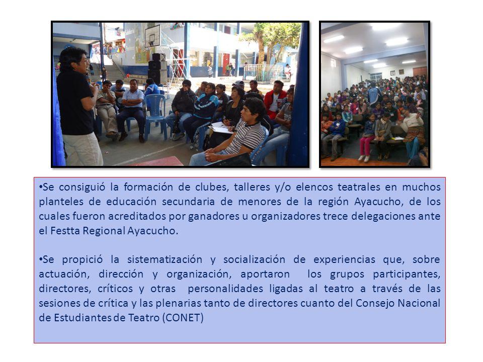 Se consiguió la formación de clubes, talleres y/o elencos teatrales en muchos planteles de educación secundaria de menores de la región Ayacucho, de los cuales fueron acreditados por ganadores u organizadores trece delegaciones ante el Festta Regional Ayacucho.