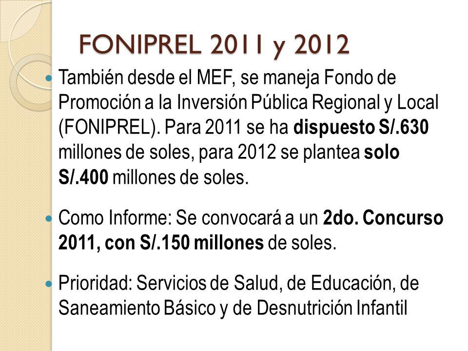 FONIPREL 2011 y 2012 También desde el MEF, se maneja Fondo de Promoción a la Inversión Pública Regional y Local (FONIPREL).