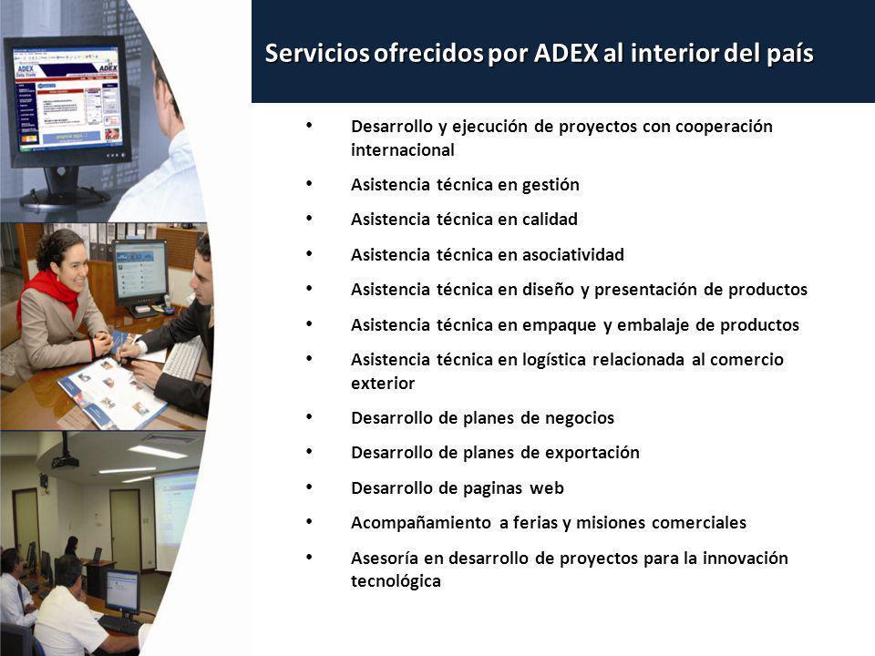 Servicios ofrecidos por ADEX al interior del país Desarrollo y ejecución de proyectos con cooperación internacional Asistencia técnica en gestión Asis