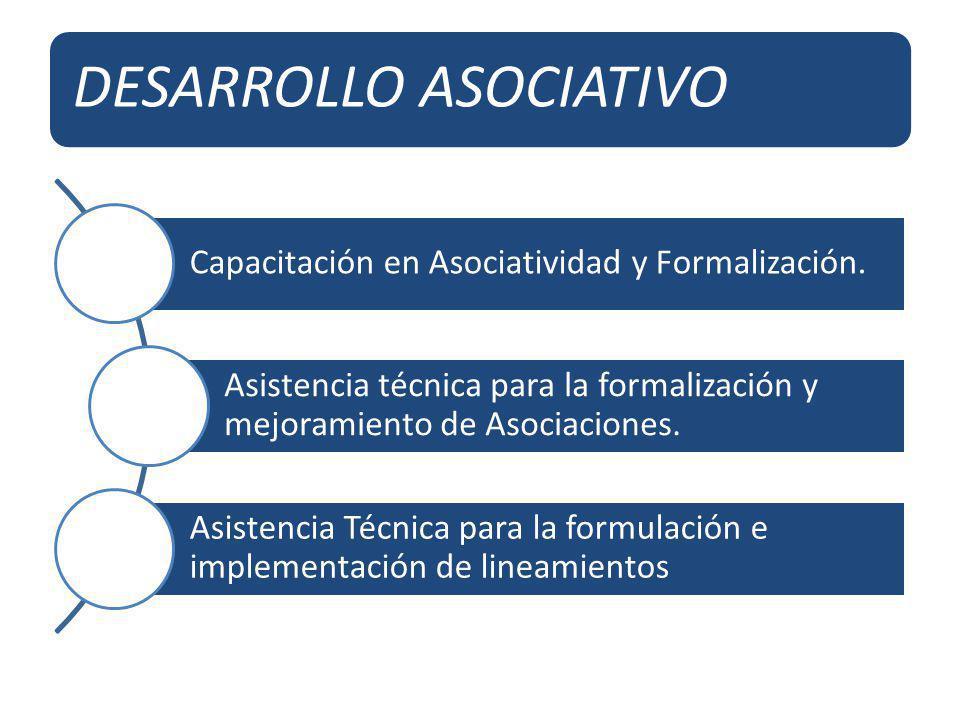 DESARROLLO ASOCIATIVO Capacitación en Asociatividad y Formalización. Asistencia técnica para la formalización y mejoramiento de Asociaciones. Asistenc