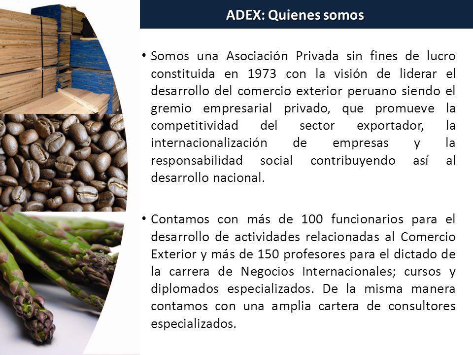 Somos una Asociación Privada sin fines de lucro constituida en 1973 con la visión de liderar el desarrollo del comercio exterior peruano siendo el gre