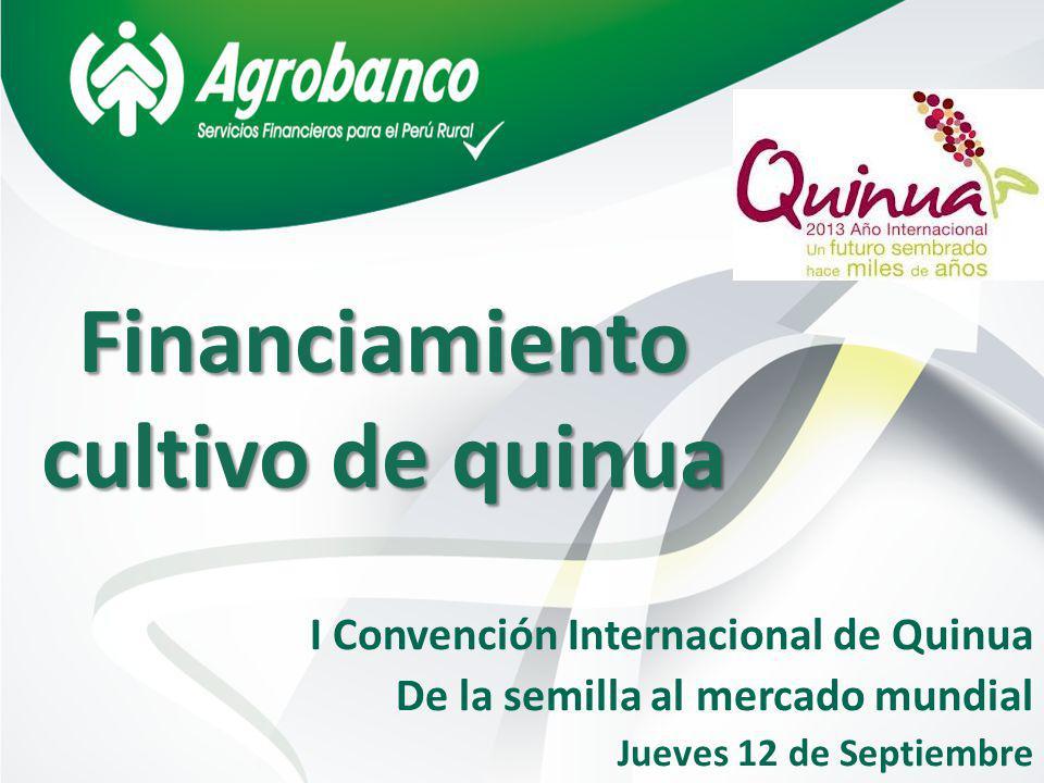 Financiamiento cultivo de quinua I Convención Internacional de Quinua De la semilla al mercado mundial Jueves 12 de Septiembre