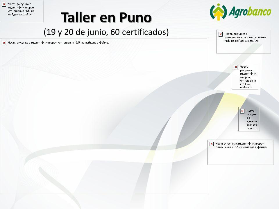 Taller en Puno Taller en Puno (19 y 20 de junio, 60 certificados)