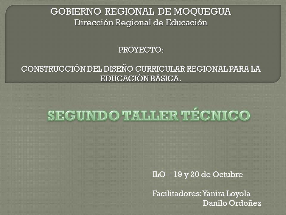GOBIERNO REGIONAL DE MOQUEGUA Dirección Regional de Educación PROYECTO: CONSTRUCCIÓN DEL DISEÑO CURRICULAR REGIONAL PARA LA EDUCACIÓN BÁSICA. ILO – 19