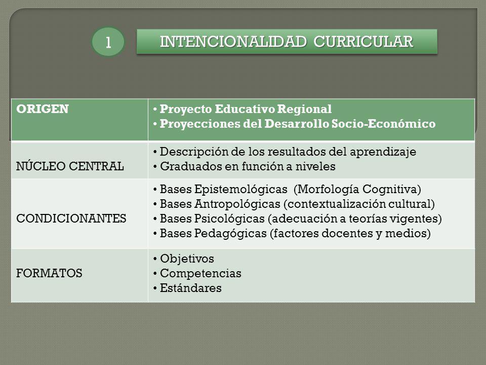 INTENCIONALIDAD CURRICULAR 1 ORIGEN Proyecto Educativo Regional Proyecciones del Desarrollo Socio-Económico NÚCLEO CENTRAL Descripción de los resultad