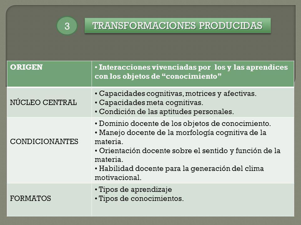 TRANSFORMACIONES PRODUCIDAS 3 ORIGEN Interacciones vivenciadas por los y las aprendices con los objetos de conocimiento NÚCLEO CENTRAL Capacidades cog