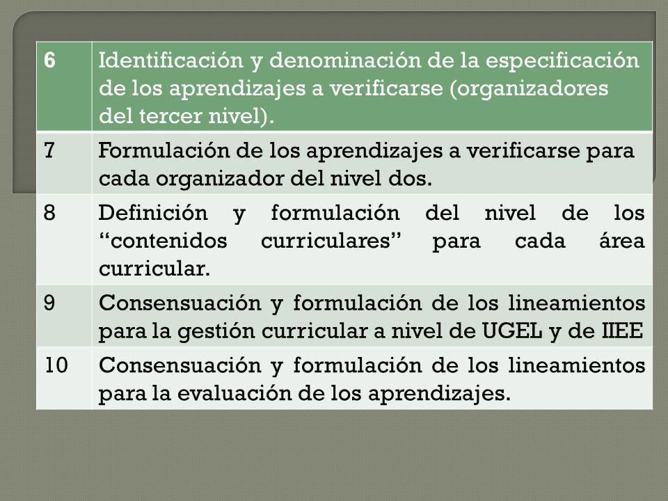 6Identificación y denominación de la especificación de los aprendizajes a verificarse (organizadores del tercer nivel). 7Formulación de los aprendizaj
