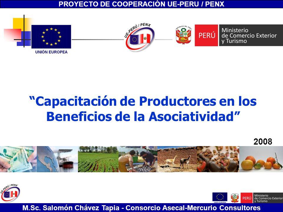 Capacitación de Productores en los Beneficios de la Asociatividad Salomón Chávez Tapia - Consorcio Asecal-Mercurio Consultores Capacitación de Product