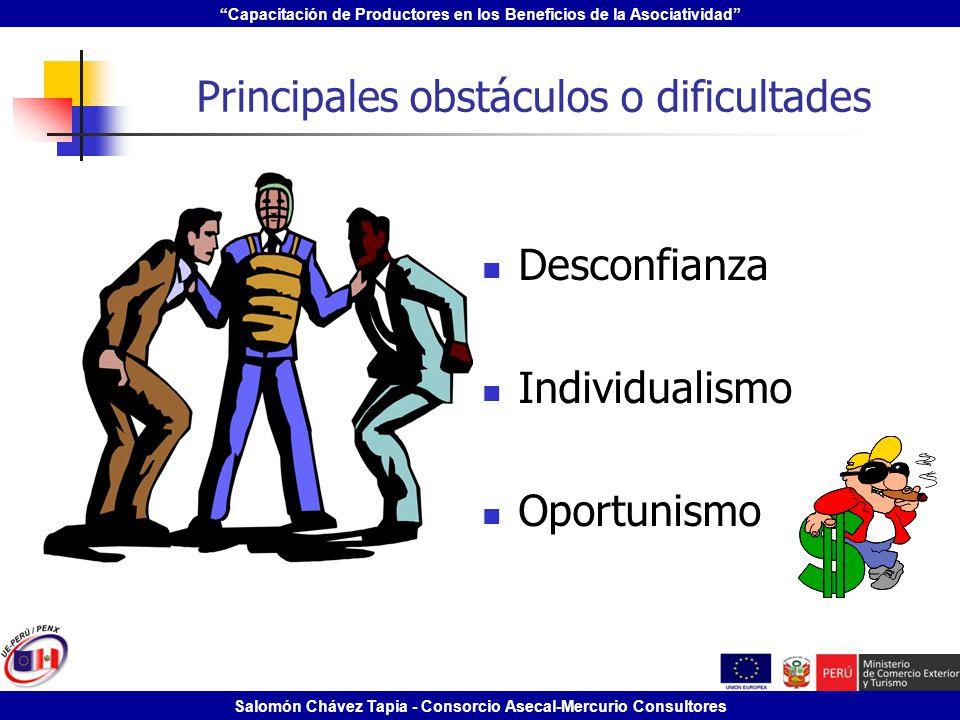 Capacitación de Productores en los Beneficios de la Asociatividad Salomón Chávez Tapia - Consorcio Asecal-Mercurio Consultores Principales obstáculos