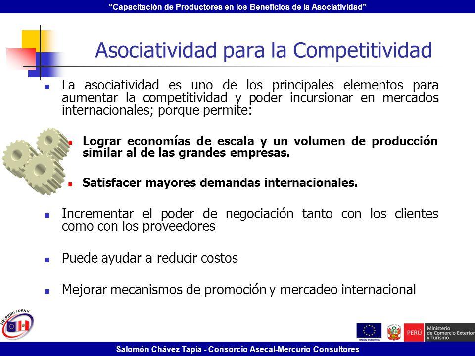 Capacitación de Productores en los Beneficios de la Asociatividad Salomón Chávez Tapia - Consorcio Asecal-Mercurio Consultores Asociatividad para la C