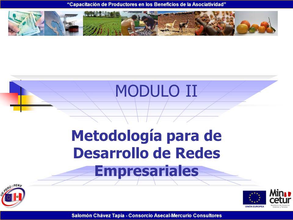 Capacitación de Productores en los Beneficios de la Asociatividad Salomón Chávez Tapia - Consorcio Asecal-Mercurio Consultores MODULO II Metodología p